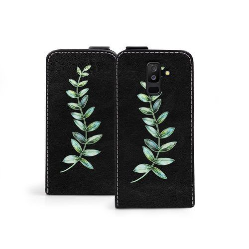 Samsung Galaxy A6 Plus (2018) - etui na telefon Flip Fantastic - zielona gałązka, kolor zielony
