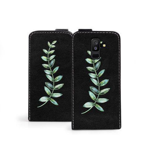 Samsung galaxy a6 plus (2018) - etui na telefon flip fantastic - zielona gałązka marki Etuo flip fantastic
