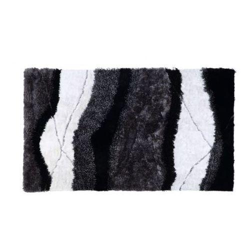Vente-unique Dywan shaggy ecume - poliestrowy, tuftowany ręcznie - biało-czarny - 140 * 200 cm