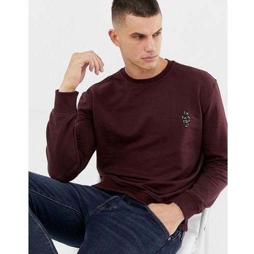 New Look sweatshirt with snake embroidery in burgundy - Red