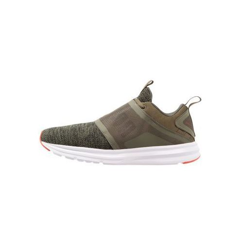 Puma ENZO STRAP KNIT Obuwie do biegania treningowe olive night/cherry tomato