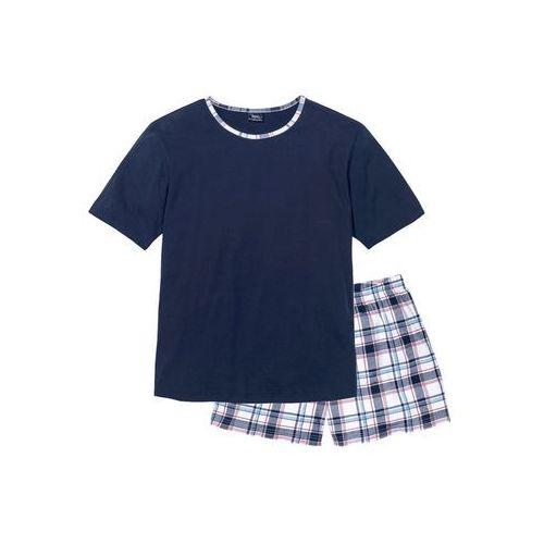 Piżama bonprix ciemnoniebieski w kratę, bawełna