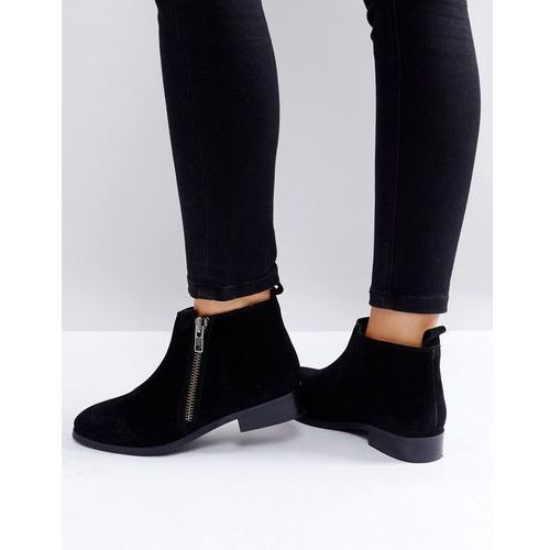 Miss KG Spitfire Suede Zip Flat Ankle Boots - Black, ankle