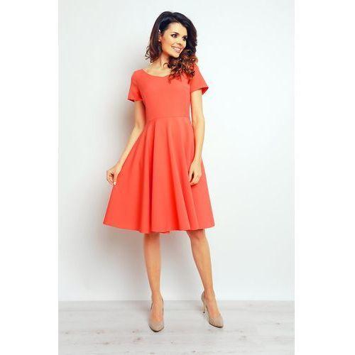 Koktajlowa Koralowa Elegancka Rozkloszowana Sukienka, kolor czerwony