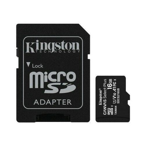Kingston karta pamięci microSDHC Canvas Select Plus (16GB | class 10 | UHS-I | 100 MB/s) + adapter