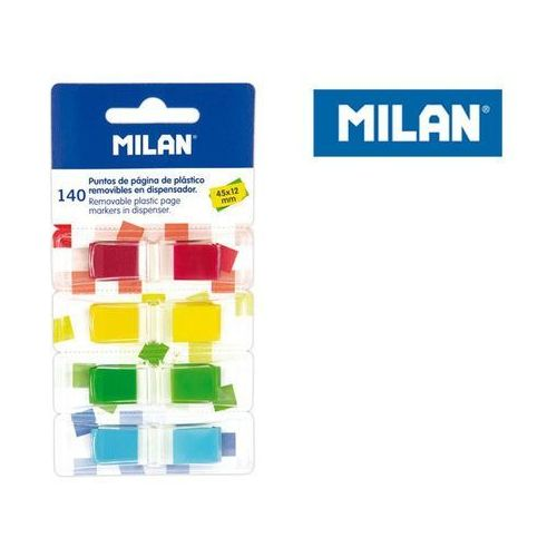 Milan Indeksy transparentne fluo 4 kolory 45 x 12 mm 140 sztuk (8411574075936)
