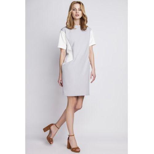 Lanti Prosta szara sukienka z krótkim rękawem