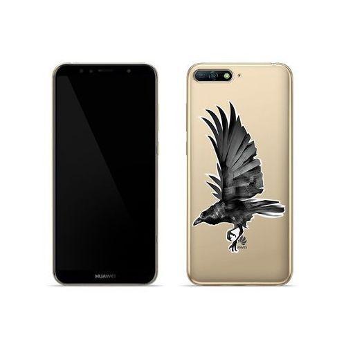 Huawei Y6 (2018) - etui na telefon Crystal Design - Czarny kruk