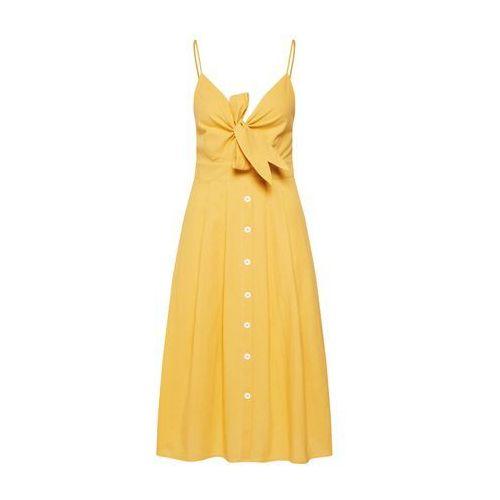Missguided Sukienka 'TIE FRONT BUTTON DOWN MIDI DRESS' żółty (5057702631235)