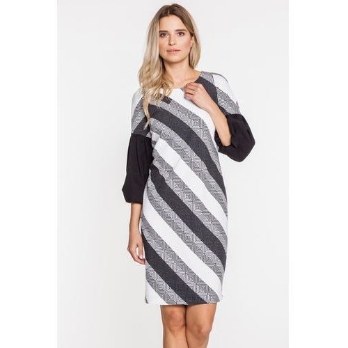Wizytowa sukienka w pochyłe paski - Margo Collection