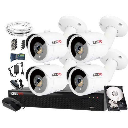 Keeyo 8mpx zestaw do monitoringu: rejestrator lv-xvr44s8, 4x kamera lv-al8m3tf, 1tb, akcesoria