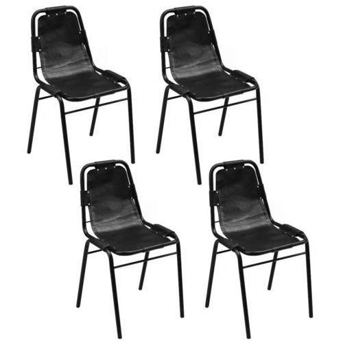 Krzesło do jadalni 4 szt., 49x52x88 cm, skóra, czarna