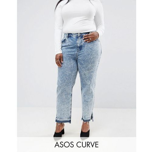 original mom jeans in adelaide acid wash with side split hems - blue marki Asos curve