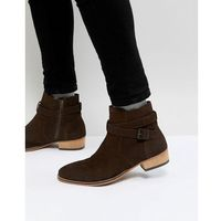 Asos chelsea boot in brown suede with cuban heel and strapping detail - brown