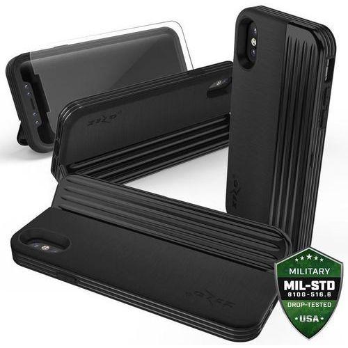 Zizo retro series etui obudowa z kieszenią na karty iphone x (black/black) + szkło hartowane na ekran