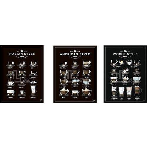 Plakat american, world, italian style coffee 3 szt. 40 x 50 cm marki Follygraph