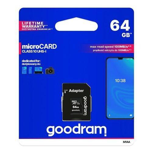 Goodram microsdxc 64gb class 10 uhs i + adapter - m1aa-0640r12