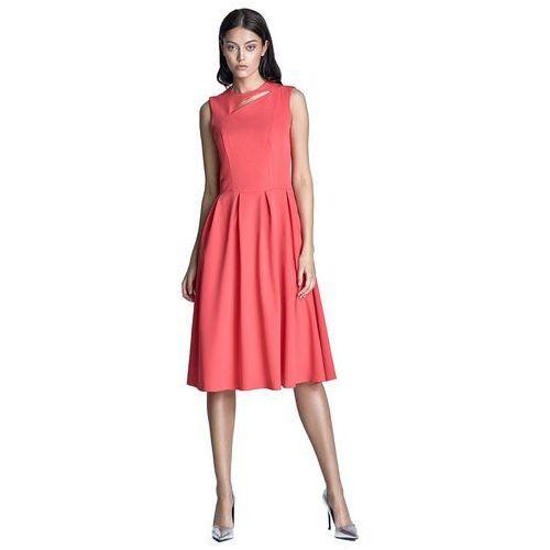 Sukienka midi - koral - s73, Nife