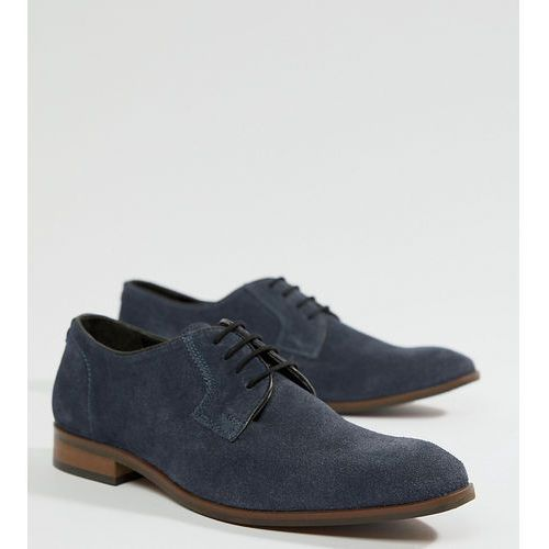 Dune wide fit lace up suede shoes in navy suede - blue