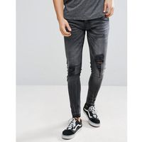 Brave Soul Skinny Fit Ripped Raw Edge Jeans - Grey