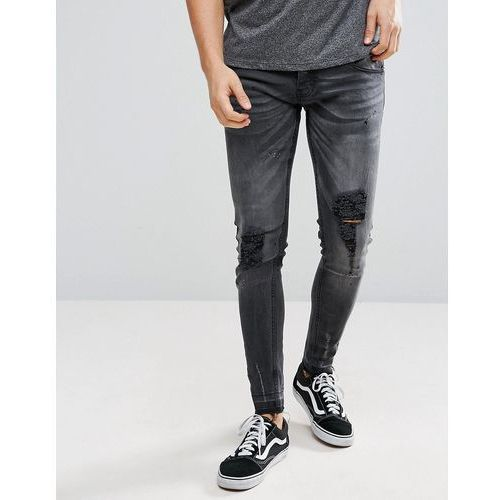 skinny fit ripped raw edge jeans - grey, Brave soul