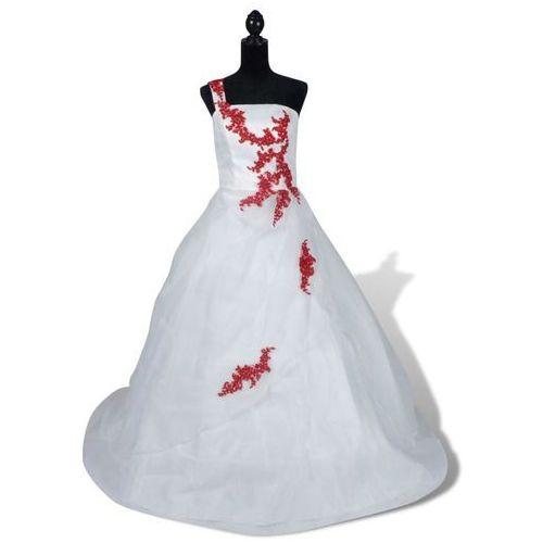 Vidaxl elegancka biała suknia ślubna, model a, rozmiar 34, czerwone zdobienia (8718475870685)