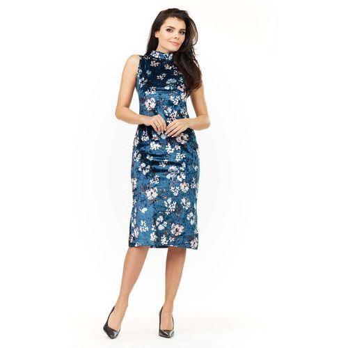 Granatowa Sukienka Ołówkowa Midi z Półgolfem