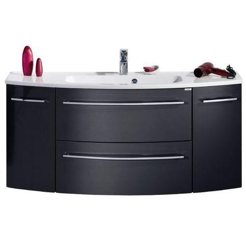 Lanzet Grafitowa szafka łazienkowa 140 cm z umywalką s2.1 - grafit o wysokim połysku \ 140 cm \ clou-system