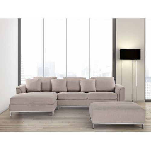 Sofa beżowa - sofa narożna P - tapicerowana - sofa z pufą - OSLO (7081459648251)