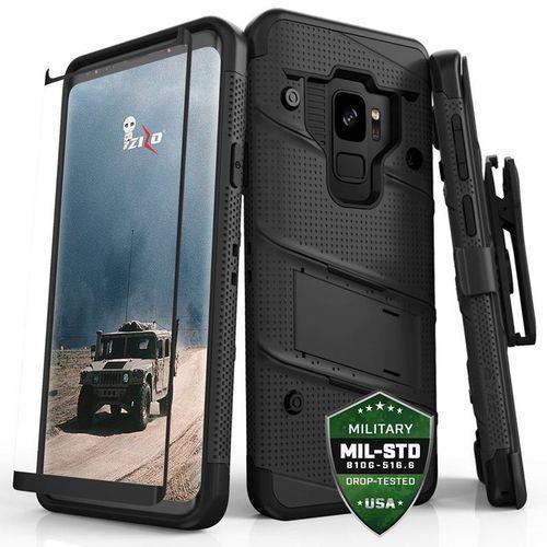Zizo Bolt Cover - Pancerne etui Samsung Galaxy S9 ze szkłem 9H na ekran + podstawka & uchwyt do paska (Black/Black), kolor czarny