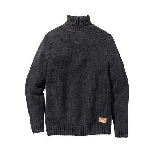 Sweter z golfem regular fit antracytowy melanż, Bonprix, S-XXXXL