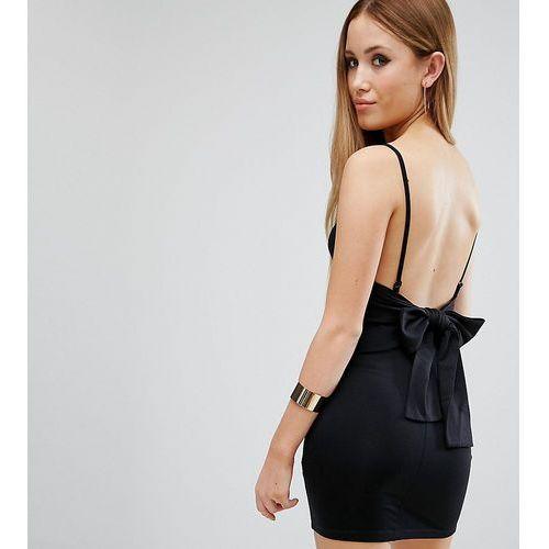 strappy mini bodycon bow back dress - black marki Asos petite