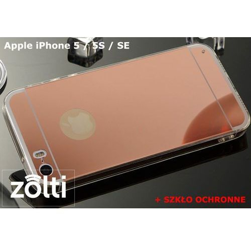 Slim mirror / perfect glass Zestaw | slim mirror case różowy + szkło ochronne perfect glass | etui dla apple iphone 5 / 5s / se