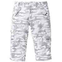 Spodnie bojówki 3/4 Straight Fit bonprix biały z nadrukiem, bojówki