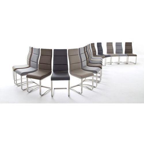 Krzesło NIZA płoza, stal szlachetna szczotkowana, z ekskóry