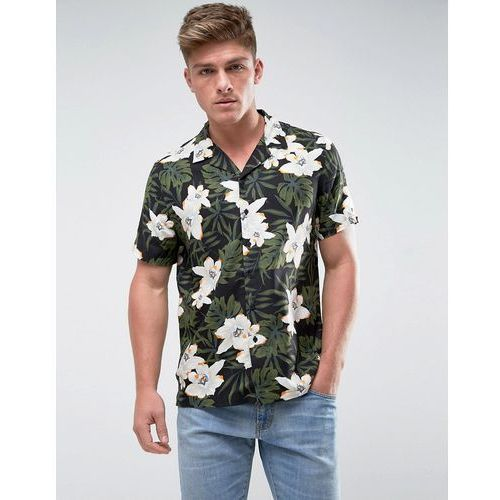 regular fit shirt with revere collar in floral palm print - black marki New look