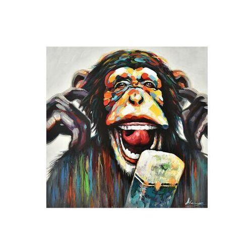 Obraz olejny monkey ręcznie malowany – 100 × 100 cm – wielokolorowy marki Vente-unique