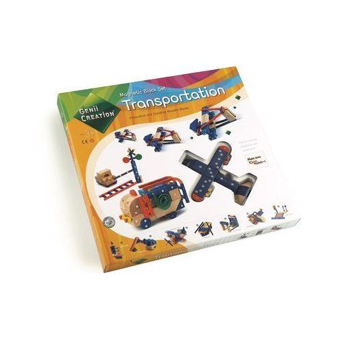 Drewniane magnetyczne klocki transportation 110el. marki Genii creation