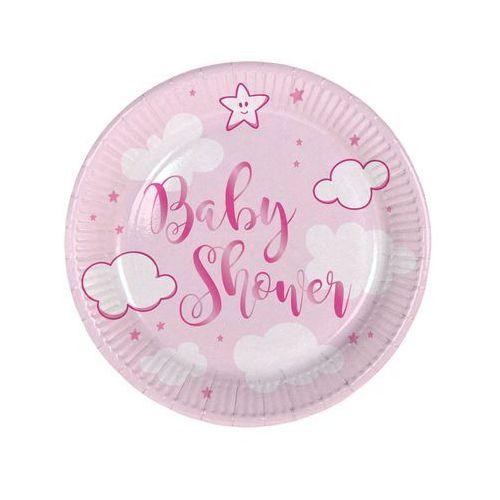"""Folat Talerzyki papierowe """"baby shower- girl"""", różowe, , 18 cm, 8 szt"""
