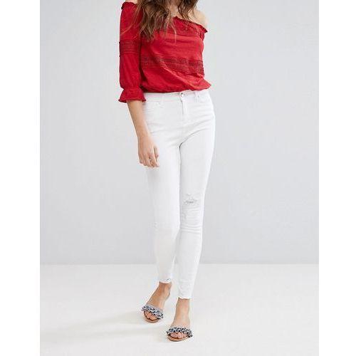 frayed hem skinny jeans - white marki Miss selfridge