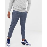 boohooMAN windowpane smart check joggers in grey - Grey