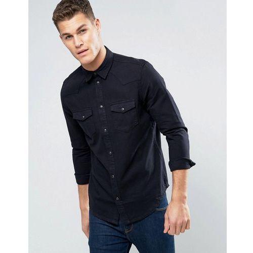 New Look Western Regular Fit Shirt In Black Denim - Black