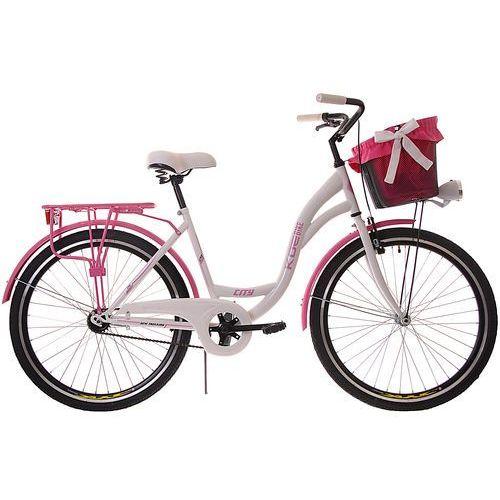 KOZBIKE (26K19-S1) Rower miejski damski Kozbike 26 biało-różowy (2 wkładki do wyboru)