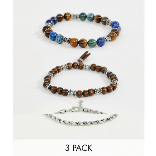 Reclaimed Vintage chain and beaded bracelet pack with semi precious stones in brown - Brown