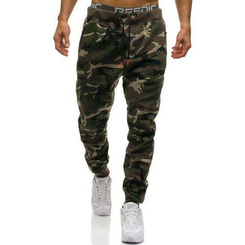 Spodnie męskie dresowe joggery moro-zielone Denley 2113, dresowe