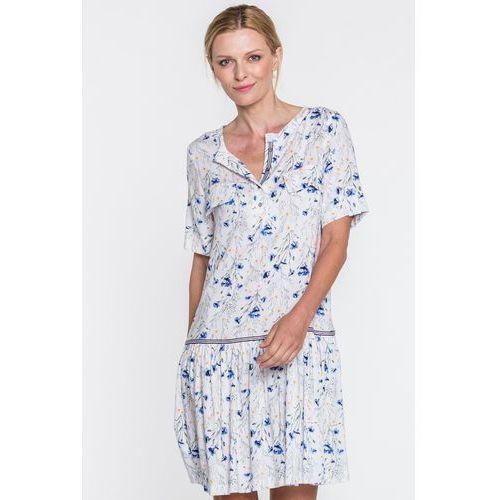 Biała sukienka w kwiaty - SU, 1 rozmiar