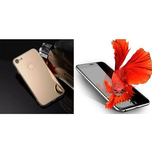 Slim mirror / perfect glass Zestaw   slim mirror case zloty + szkło ochronne perfect glass   etui dla apple iphone 7
