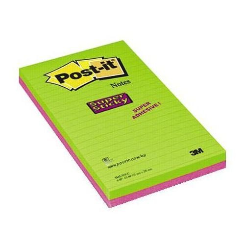 Post-it notes super sticky ultra 5845-ssuc 125x200mm, 45k linia, opakowanie 4 sztuki marki 3m