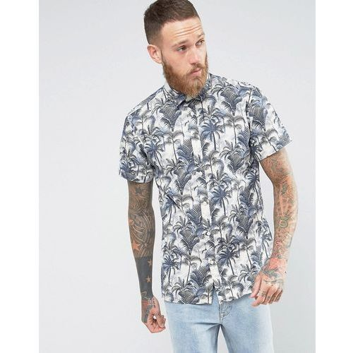 Selected homme  short sleeve shirt in regular fit with hawaiian print - navy