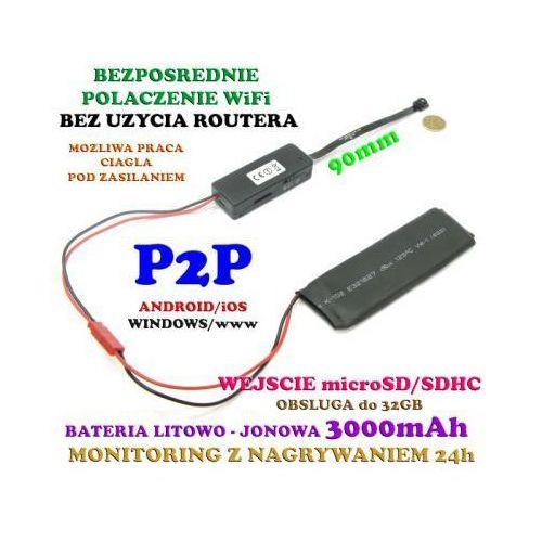 Spy Mini-kamera (do ukrycia/zabudowy) wifi/p2p (zasięg cały świat!) + zapis w petli...